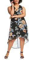 Karen Kane Sleeveless V-Neck Hi-Lo Hem Rose Floral Print Dress, Size 1X