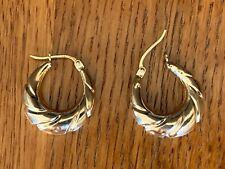 18k Gold over Sterling Silver Hoop Earrings 3/4 inches Estate sale New