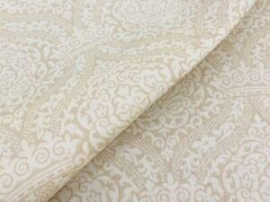 """Vervain Damask Linen Print Fabric- Vouvray / Parfait REMNANT 45"""" x 42"""" (WxL)"""