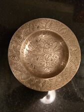 Beautiful Hand Etched Brass Ash Tray..Sighed By Artist