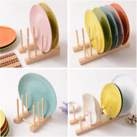 Shelf Dish Rack Pots Wooden Plate Stand Kitchen Cups Display Drainer Holder 1pc