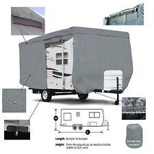 Deluxe Travel Camper Trailer RV Cover Fits 13.5'L Body w/Zipper door Access