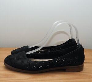 Clarks Narrative shoes size 5 black nubuck ballet flats punch cut outs