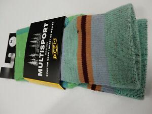 Keen Unisex Multisport Horizon Ultralite 1/4 Crew Socks Green Multi Size M