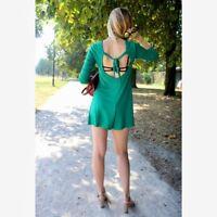 ZARA Trafaluc Tie Back Green Short Jumpsuit