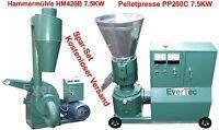 Pelletpresse PP200C 7.5KW & Hammermühle HM420B 7.5KW Holz & Tier Pellet Set