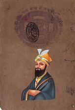 Guru Gobind Singh Sikh Handmade Artwork Old Stamp Paper Sikhism Punjabi Painting