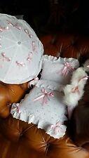 Silver Cross Puppen Kinderwagen Set Sonnenschirm Hand Muff Pelz Besatz pink Schleife Atemberaubend