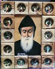 St. Charbel Makhlouf olive wood icon 14 stations,11 inch ,hand made in Jerusalem