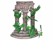 Rustic Greek Column Ruin & Artificial Vine Decoration Aquarium Ornament AQ68031