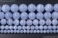 AAA Natural Chalcedony Blue Lace Agate Purple Round Beads 4mm 6mm 8mm 10mm 15.5""