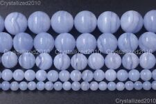 """AAA Natural Chalcedony Blue Lace Agate Purple Round Beads 4mm 6mm 8mm 10mm 15.5"""""""