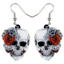 Acrylic Halloween Rose Flower Skull Earrings Dangle Punk Jewelry For Women Gifts