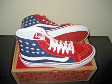 Vans Sk8-Hi Slim Womens Studded Stars Red Blue Skate Casual Shoes Size 6 NWT