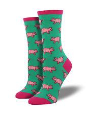 Socksmith Womens Fashion Novelty Crew Socks This Little Piggy Pig Jade Green