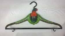 """RARE Fancy Hand Painted Lacquered Parrot Decorative Clothes Hanger 17""""w x 10""""h"""