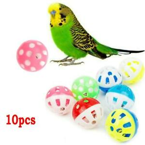 10pcs Pet Parrot Toy Colorful Hollow Rolling Bell Ball Bird Toy Parrot Chew