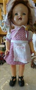 """Antique 1930s Composition Girl Doll 16"""" Original Dress Apron Mohair Braided Wig"""