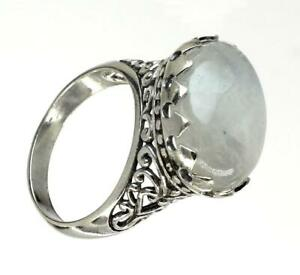 Handmade Sterling Silver .925 Bali Moonstone Solitaire Ring w Heart Accents.