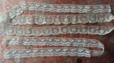 3 very old Fine French Antique Lace Val Trim 2+ yards wide tulle lot 1800s