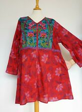GUDRUN SJODEN Floral Organic Cotton Embroidered Multicolored Dress, Size: XXL?
