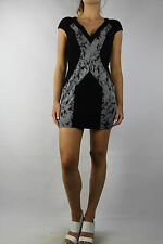 SEDUCE Black Printed Fitted Dress Size 6