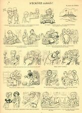 Document ancien n'écrivez jamais 1897 issue album des lundis Carand'Ache