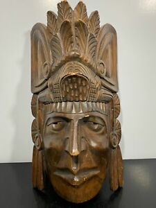 LARGE Carved Wooden Indian Tobacco Chief Mascot Art Sculpture Face Mask
