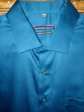 GEOFFREY BEENE L/S TEAL BLUE SHIRT NWOT 17.5 36/37