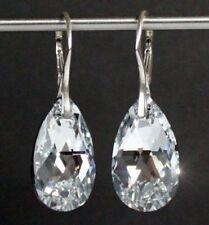 Echt Silber 925 Ohringe mit Swarovski® Kristallen Tropfen glitzernd spiegelnd