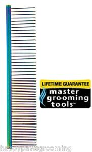"""MASTER Grooming Tools Face Ears Finishing STEEL&Brass 4 1/2""""RAINBOW COMB*DOG CAT"""