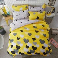 Yellow Heart Printing Bedding Set Duvet Quilt Cover+Sheet+Pillow Case Four-Piece