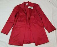 Chicos Rubious Stylish Jacket Red NWT NEW $124 Sz 0 Robe Style Satin