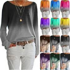 Damen Langarm Gradient Freizeit Bluse T-Shirt Tops Pullover Sweatshirt Oberteil