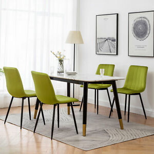 2/4 Velvet Dining Chairs Padded Seat Metal Legs Lounge Kitchen Chair Restaurant