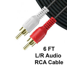 6 FT Red/White 2 RCA To 2 RCA Stereo Channel L/R Audio Cable Gold Plated