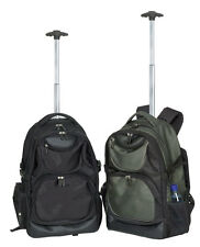 olive unisex fashion single rolling wheel notebook laptop padded backpack 3259r