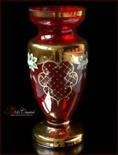 """Bohemian Glass Flower Vase 31 cm, """"Jasmine"""" Rubin, New!"""