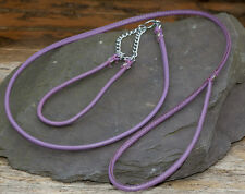 Dog Show Lead and Collar Soft Nappa Luxury Leather - Lilac / Purple