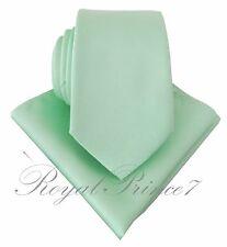 New Men's 100-V Self tie Neck Tie And Pocket Square Hankie Set Pastel Mint Green
