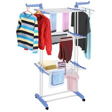 "66"" 3 Tier Stainless Organizer Folding Drying Rack Clothes Drier Hanger Stand"