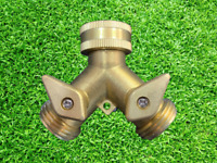 "3/4"" Solid Brass Double Two Way Tap Garden Connector Adaptor Hose Splitter"