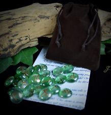 25 Glass RUNES & BAG  Witch WICCA PAGAN Rune Set Witchcraft Divination