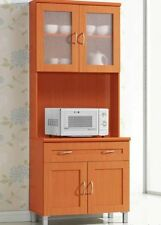 Tall Microwave Cabinet Stand Hutch Pantry Cart Storage Cupboard Kitchen Cherry