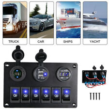 6 Gang Blue On-Off Led Rocker Switch Panel Car Marine Boat Circuit Dual Usb Hot