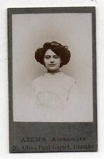 Photo - CDV - Femme Coiffure - AZEMA Alexandre à Béziers - Vers 1900 - Vintage.