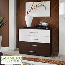 Cassettiera FLORIDA corpo wengè e cassetti wengè/bianchi luc. design casa arredo