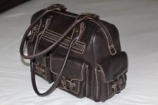 United Colors of Benetton Dark Brown Leather Bags Travel Bag - Gently Clean Used