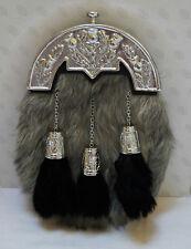 Scottish Kilt Grey Goat Skin Full Dress Sporran Antique Chrome Thistle Cantel