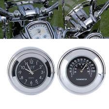 "7/8' - 1"" RELOJ & TEMPERATURA MOTO MANILLAR MOTOCICLETA BICI PARA Harley"